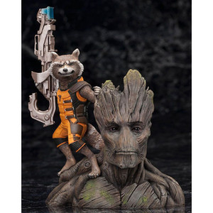 Groot con Rocket Raccoon decorazione auto ornamenti interni Cruscotto Decorazione accessori auto regalo di compleanno Home Decor