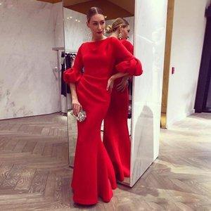 Eleganti abiti da sera a sirena rossa con mezza manica pavimento lunghezza in raso Plus Size Lungo Prom Dreses Vestido De Festa