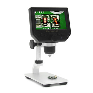 """Vídeo Digital Microscope 600X 4.3"""" 3.6MP LED Magnifier microscopio para Mobile Phone Manutenção QC / Inspeção Industrial + suporte"""