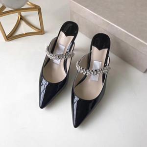 Hot Sale-Mules donne tacco alto Sandali donna a punta nero diamante bianco sandalo a punta stile scorrevole