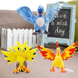 22-28cm 8.6-11'' Moltres Articuno Zapdos Anime 3 Styles Rare Peluche Plush Toy Soft Stuffed Animals Dolls Gift For Kids Children Y200703