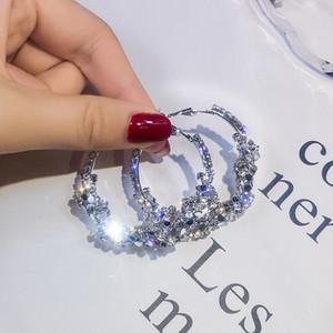 Koreanische Art-Kristallband-Ohrringe für Frauen Silber Gold Farbe Big Ohrringe Hochzeit Statement Earings Fashion Jewelry