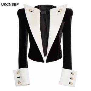 UKCNSEP 2020 High Quality Newest Stylish Designer Jacket Women's Metal Buttons Color Block Patchwork Velvet Short Blazer