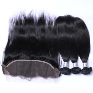 Indian Peruvian Brazilian Human Weave Hair Weft Extensions 3 Bundles And Top Lace Frontal 13x4 Stright Wavy Natural Corol Human Hair Bundles