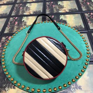Moda marca design2020 Melhor Hibiscus Qualidade Red Mini Marmont Matelass couro redondo Shoulder Bag 550154 Size18x 18x 5cm