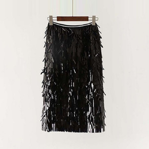 Women Summer Spring Sequined Skirts Tassels Mid-Calf Casual Fashion Sexy Party Shining Straight Skirts One Size Free Size 6Q2550