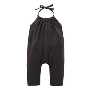 2019 Hot fashion kids  clothes girls summer halter tops Halterneck jumpsuits Solid colors have pockets