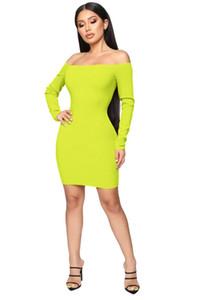 Women Solid Knitted Sheath Dress Slash Neck Long Sleeved Bodycon OL Dresses