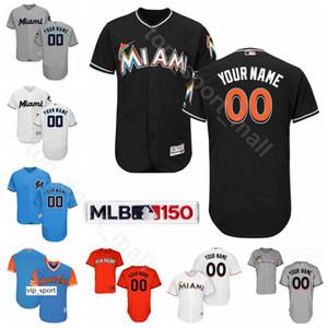 Baseball 9 Lewis Brinson Jersey 18 Neil Walker 38 Jorge Alfaro 5 Herrera Rosell 62 Jose Urena Rafraîchissez base Blanc Gris Orange