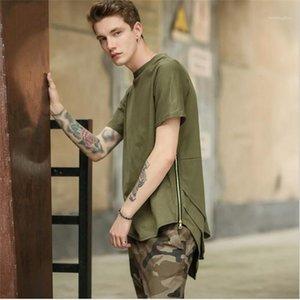 2020 New Style Les vêtements adolescents irrégulière Zipper Fly T-shirts pour hommes d'été Solid Designer Rue Color Style T-shirts Les hommes de mode