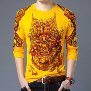 Chinese Painting Sweater Fashion Pullover Erkek Kazak Animal Print Sweater Men Slim Fit Pull Homme Chompas Hombre 2020 Clothes