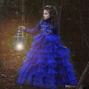 2020 New Arrival Flower Girl Dresses Royal Blue High Neck Long Sleeves Ball Gown Lace Appliques First Communion Pageant Gowns Custom Made130
