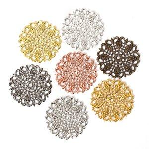 Résultats de ewelry Composants 20pcs / lot de 25 mm Cuivre évider plume de paon Fleurs Filigrane Wraps Connecteurs Constats charme pour Jewelr ...