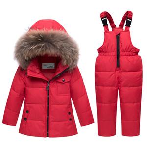 2019 Nouvel Hiver Bébé Garçons Filles Duck Down Combinaison De Neige Veste Enfants Fourrure Parkas Ski Set Enfants Vêtements Salopette