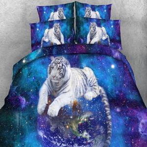 Azul Galaxy White Tiger cama Set Lifelike Snow Wolf Duvet Cover Set fronha Lençois 2 / 3pcs US / EU / AU Tamanho fundamento