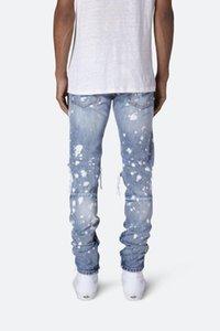 Fashion-Mens Printed Омывается Hole Джинсы Летняя мода Тощий Light Blue отбеленная карандаш брюки Hiphop Street Jeans