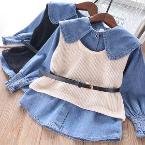 2Color 2020 girls suits denim shirt+vest waistcoat+belts 3pcs set fashion girls outfits kids designer clothes girls blouse B993