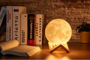 Лунная лампа 3d печать ночь света аккумуляторная крана лампа управления лампа 16 цветов изменения удаленного светодиода луна подарок