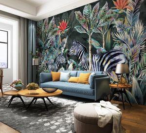 Taille sur mesure Tout 3D Fond d'écran mural vivant forêt zèbre Cocotier plante tropicale chambre Sofa chambre fond Décoration murale