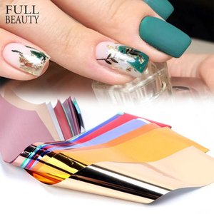 14pcs Metalik Folyo Tırnak Sticker Holografik Ayna Yapışkan Wrap Çıkartmaları Starry Kağıt Jel Aksesuarları Tırnak Folyo Seti CH996-1 için