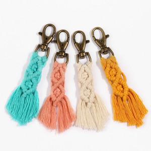 Boho della nappa portachiavi cotone Discussione catena a maglia Key Anello Donna mano portachiavi Gift Bag Charm per le donne Borse Frizioni Accessori