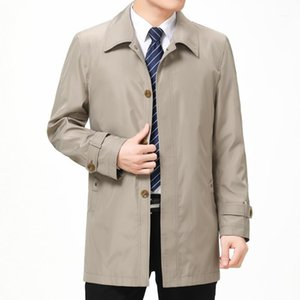 Trench Coats Lapel Neck Long Sleeve Outerwear Casual Middleaged And Elder Coats Autumn Men Business Designer