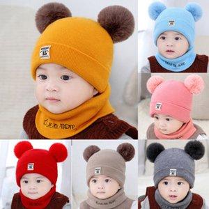 Çift Pom Poms Topu Örme Bebek Erkekler Kızlar Bebek Tığ Beanie Hairball Kulak Bebek Şapka Sevimli Çocuk Caps Kış Şapka İçin Çocuk Caps