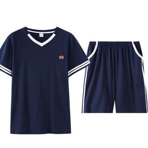 Короткие рукава короткие штаны Crew Neck Man Пижамы Пижамы Мужчины Pijama Mans пижама пижама для мужчин Mens Pajama Set V Neck