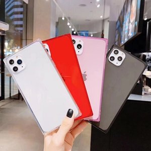 Wholesale Clear Square Shockproof Phone Case For iPhone 11 Pro Max 6 6S 7 8 Plus SE2 X XS XR MAX Candy Color Soft TPU Back Cover