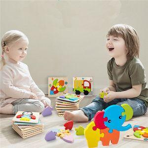 3D de madeira animal Puzzles Educacional para 3-7 Year Old Wooden Toy Educacional Educação Pré-Escolar Brinquedos FY6025