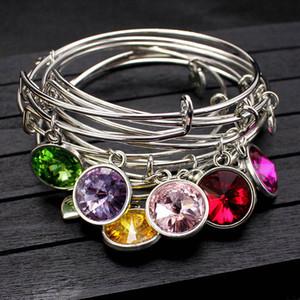 Mode personnalisé 12 Mois Birthstone Dangle Charms Bangle Cuff amour Herat cristal Charms Bracelet Bijoux Cadeaux de Noël