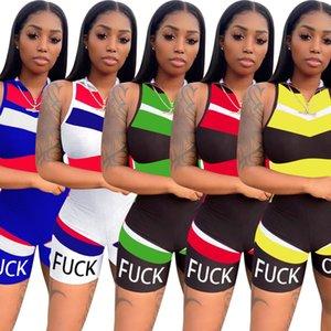 Sin mangas de la cremallera de las mujeres Mono Deportes Hit raya pantalones cortos de deporte de las señoras atractivas de las mujeres de los mamelucos Ty6018