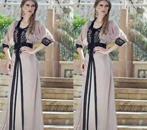 Vestidos de encaje negro vintage Kaftan árabe Jalabiya marroquí Dubai musulmán 2019 Abaya en Dubai Vestido largo de noche Maxi vestido de noche matrimonio matrimonio
