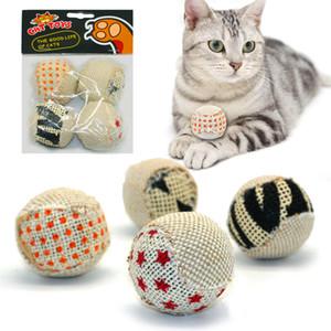 4pcs / pack Palla Cat Toy Interactive Cat Toys Giocare a masticare Rattle Scratch Cattura Pet Kitten Cat Esercizio giocattolo palle