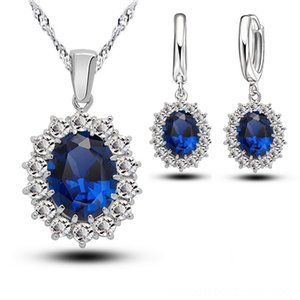 Bridal Wedding Women Other Jewelry Sets Jewelry Sets Crystal 925 Sterling Silver Blue Cubic Zircon Engagment Earrings Pendant Necklace Set