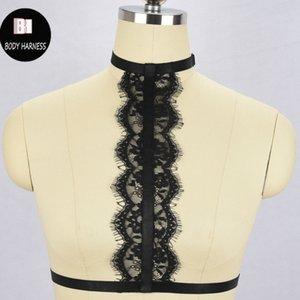 Schwarz Frauen-Unterwäsche Unterwäsche Spitzenhalsband Geschirr Wäschekörper harnesslace Käfig brasexy lingeriebondage lingeriebody Gurtzeug bra