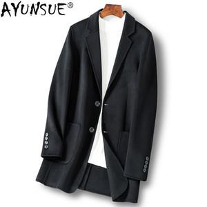 AYUNSUE Uzun Yün Ceket Erkekler Bahar Sonbahar Ceket 2019 Çift taraflı Palto Erkek Mont ve Ceketler Rahat Manteau Homme KJ1921