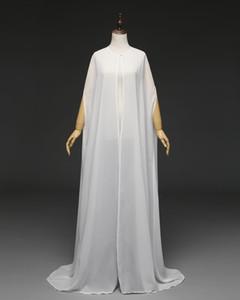 2019 Hot Women's Long Chiffon Cape White  Ivory Wedding Jacket Cloak Bridal Dress Wraps