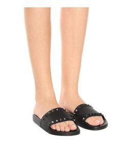 Мужская женская мода черный слайд сандалии с золотой шпилькой, украшенной Slips на тапочки размер евро 35-45