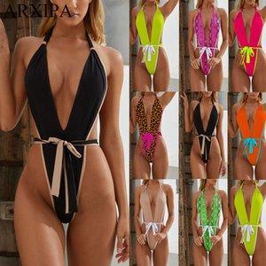 Arxipa Sexy One Piece Bikini Set High Cut Frauen Bademode Tief V Badeanzug Bandage Beachwear Tanga Monokini Solid Leopard Snakeskin 2021 Neu