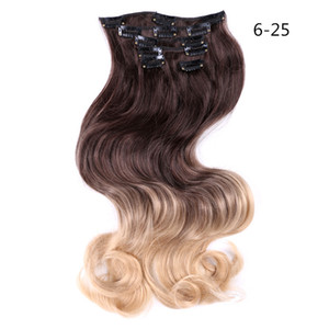 """Synthetic Body Wave 6 Clip in Hair Extensions 22"""" False Hair Pieces 130g pc Ombre Black Brown Blonde Styling Hair Heat Resistant"""