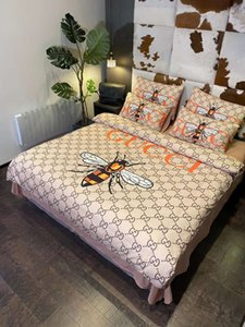 Coton sérigraphié chaud Literie Mode 4 Pcs feuille Housse de couette 2 taies d'oreiller Home Textiles Consolateur Queen Size colorée Linge de lit
