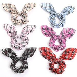 Ins muchacha del pelo del oído de conejo Scrunchy Con Estudiante Pascua cuadrícula de pelo conejito anillo de oído de la cola de caballo elástico pelo de la venda de Hairbands Cuerdas 12 colores