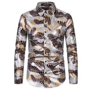 mens camice di vestito del progettista 2020 di lusso mens primavera autunno vestiti d'oro magliette stampate camicia casual collo bavero manica lunga