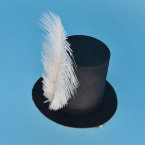 Kadın kızlar siyah Mini silindir şapka saç klip düğün Parti Karnaval tüy şapka baz DIY zanaat saç aksesuarları Karnaval