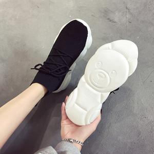 Bottom Bear Little Dad Woman Fly Weaving Noodles Flat Fashion2019 High Help Sneakers Joker Socks Shoes
