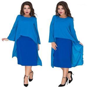 Poliéster Chiffon Casual solta Vestuário Womens Verão 6xl Designer Fashion Dress Crew Neck Ashymmetrical Batwing roupa