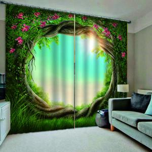 Blackout Curtains Per Bedroom Window tende per il salone Paesaggio foro dell'albero 3d tende