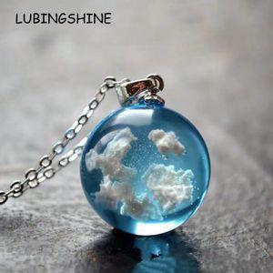 heap Pendant Necklaces Aesthetic Blue Sky White Cloud Transparent Round Glass Ball Pendant Luminous Chain Necklace Chokers for Women Jewe...