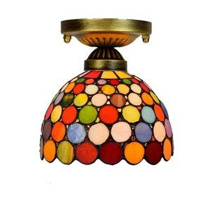 iluminação Europeu retro teto pendurado Tiffany manchado lustre de vidro corredor varanda corredor pequena luz de teto bar Lâmpadas coloridas TF015